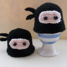 """Im stuck on these. Im going to try """"pumpkin covers"""" in this Ninja style so funny. Crochet Ninja Egg Cosies"""