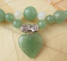 Green Aventurine and Jade Heart Necklace