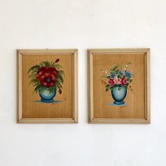 Pair of Mid Century Flower Art | sunbeam-vintage
