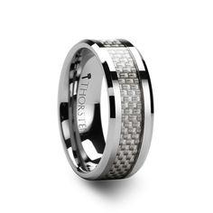 TORRETTO Beveled Tungsten Wedding Band White Carbon Fiber 4mm - 12mm
