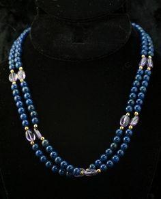 Vintage Dark Blue Two Strand Glass Bead by DianaKirkpatrickArt
