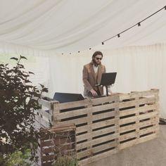 Party DJ in Suffolk Dreamwave DJ Spike with custom pallet DJ booth at Kenton Hall