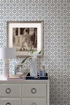 Gigi Navy Geometric Brewster Ultra Removable Wallpaper by Brewster Home Fashions on @HauteLook