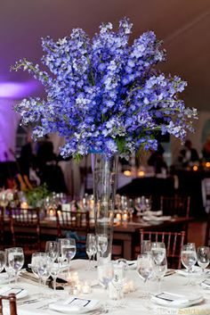 Blue Wedding Flowers Blue Delphinium for the Ceremony. Blue Wedding Flowers, Bridal Flowers, Flower Bouquet Wedding, Purple Wedding, Floral Wedding, Flower Bouquets, Bridal Bouquets, Blue Centerpieces, Tall Wedding Centerpieces