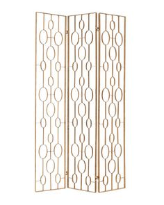 "ZENA IRON ROOM SCREEN BY ARTERIORS An iron  screen with a distressed gold-leaf finish and graphic pattern.   72"" h. x 42"" w. x 1"" d.; $1,800; arteriorshome.com"