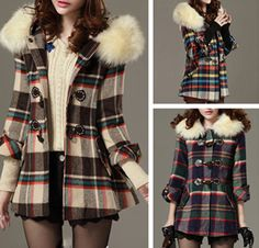 Modern Style Horns Buckle Color Block 3/4 Sleeves Worsted Checked Coat For Women