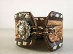 Wondering what to do with old cowboy boots? Repurpose them with these cowboy boot craft ideas. Leather Cuffs, Leather Tooling, Leather Jewelry, Leather Bracelets, Metal Jewelry, Old Cowboy Boots, Old Boots, Diy Jewelry, Handmade Jewelry