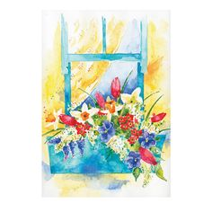 Window Garden Original Watercolor Painting by SkyblueByEvaMarion
