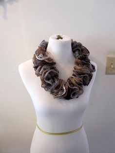 Lace Waltz Browns and Greys Knit RIpple Ruffle by PoppyLesti, $20.00
