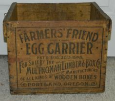 ANTIQUE VTG 1898 FARMER'S FRIEND EGG CARRIER MULTNOMAH LUMBER BOX WOOD CRATE