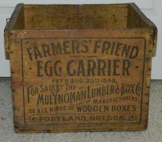 ANTIQUE VTG 1898 FARMER'S FRIEND EGG CARRIER MULTNOMAH LUMBER BOX WOOD CRATE