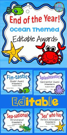 "Ocean Themed End of Year Awards - Editable! Includes 30 different awards Click on Student's Name, Teacher Name or date to personalize! Make your Own Award on the Last Slide! TAKE A LOOK AT THE PREVIEW Splashtastic! Most Improved Award ""Sea"" Who is the Best Dancer  Splashtastic! Hard Worker Award ""Sea"" Who is a Super Scientist Splashtastic! Most Giving Award  Sea-sational Responsibility! Splashtastic! Enthusiasm Award  Sea-sational Organizer! Splashtastic! Great Speller Award  Sea-sational…"