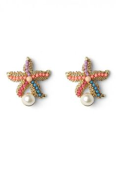 Starfish Earrings with Pearl Decor