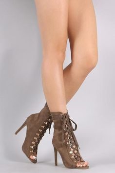 Suede Peep Toe Lace-Up Ankle Boots
