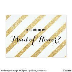 Gold Glitter Wedding Invitations Modern brush gold stripe Will you be my Bridesmaid Card Gold Glitter Wedding, Glitter Wedding Invitations, Modern Wedding Invitations, Wedding Cards, Elegant Invitations, Be My Bridesmaid Cards, Will You Be My Bridesmaid, Invitation Paper, Invitation Ideas