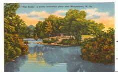 Undate Unused Postcard Flat Rocks scenic recreation place Morgantown WV