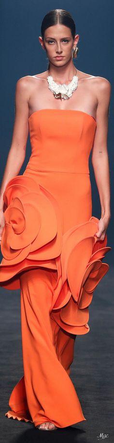 Coral Fashion, Rainbow Fashion, Orange Fashion, Coral Orange, Orange Color, Colour, Yellow, Moda Coral, Strapless Dress Formal