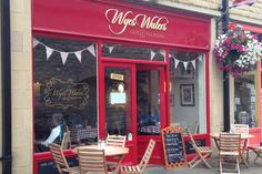 Wyes Waters Tea Rooms in Bakewell. Check out the vintage bike on the wall inside! Bakewell, Peak District, Neon Signs, Cyclists, Derbyshire, Tea, Outdoor Decor, Wall, Rooms