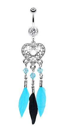 Glam Heart Dream Catcher Feathered Belly Button Ring - 14 GA (1.6mm) - Fuchsia - Sold Individually
