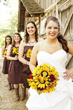Rustic Barn Wedding Picture Ideas love the flowers but not crazy about the dresses!!