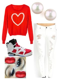 """""""HAPPY VALENTINE'S DAY"""" by mz-fashionable ❤ liked on Polyvore featuring NIKE, Forever 21 and Majorica"""