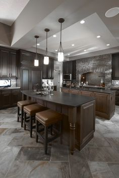Stewart - Traditional - Kitchen - calgary - by Superior Cabinets Slate Flooring, Kitchen Flooring, Kitchen Backsplash, Kitchen Cabinets, Kitchen Island, Slate Tiles, Backsplash Design, Modern Flooring, Beautiful Kitchens