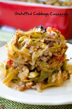 Unstuffed Cabbage Casserole doesn't take even the half time of cabbage rolls but it is as scrumptious. Who bothers stuffing cabbage leaves when you can make equally delicious unstuffed cabbage rolls with the same ingredients in a much shorter time? Cabbage Recipes, Beef Recipes, Cooking Recipes, Healthy Recipes, Recipies, Meals With Cabbage, Beef Dishes, Food Dishes, Main Dishes