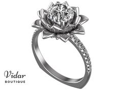 Moissanite Engagement Ring,Unique Flower Engagement Ring,Flower Engagement Ring,Lotus Ring,Vintage Ring,Leaves Engagement Ring,Fine Ring
