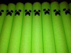 Minecraft themed pool party, A sharpy marker turns these plain pool noodles into the creeper