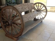 Solid Antique Timber Wagon Wheel Bench Seat