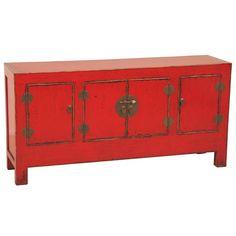 #Aparador #madera color #rojo
