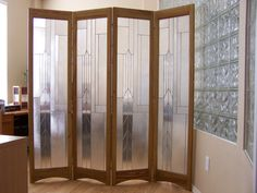 stained glass room divider - 3-panel screen, metropolis java model