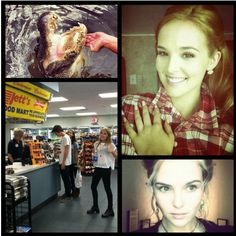 Source: Zoey Deutch's Twitter Feed (@zoeydeutch)    Clockwise from the Left: Feeding the Crocs; Thomas Mann (Link), Tiffany Boone & Zoey's sister, Maddie; Zoey & Some Serious Emily Asher Nails; Zoey