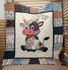 Farm Animal Quilt, Farm Quilt, Happy Cow, Baby Cows, Baby Elephants, Baby Quilt Patterns, Cute Cows, Boy Quilts, Quilt Baby