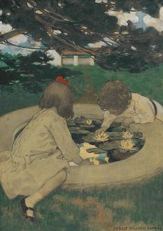 Jessie Willcox Smith (USA 1863-1935) The Lily Pool (c. 1903)mixed media on paper laid down on board 53.3 x 38.7 cm