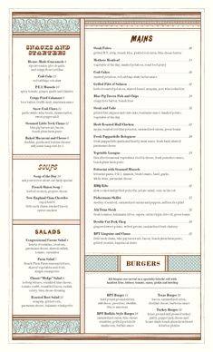 A division of UnderConsideration, cataloguing the underrated creativity of menus from around the world. Menu Printing, Chopped Salad, Menu Design, Packaging Design, Food And Drink, Blue, Division, Stationary, Fonts