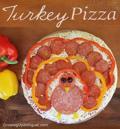 Fun idea for a Thanksgiving party! Make a Turkey Pizza. I think this is so cute, and would be a great day before Thanksgiving meal when you have so much going on! by tracie Thanksgiving Crafts For Kids, Thanksgiving Parties, Thanksgiving Activities, Thanksgiving Turkey, Thanksgiving Recipes, Fall Recipes, Holiday Recipes, Thanksgiving Appetizers, Happy Thanksgiving