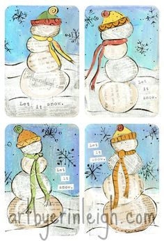 Christmas Mixed Media Art  Let it Snow Snowmen  artbyerinleigh.com