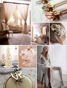 Colour palette: old gold and pastels.