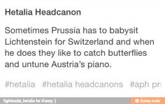 Hetalia Headcannon>> I have a really hard time believing Switzy would let Prussia babysit Liech. Hetalia Headcanons, Hetaoni, Hetalia Funny, Hetalia Axis Powers, Usuk, History Memes, Me Me Me Anime, Hilarious, Funny Memes