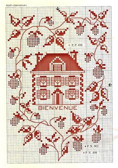 ru / Фото - - Orlanda - House and strawberry vines Cross Stitch House, Just Cross Stitch, Cross Stitch Heart, Simple Cross Stitch, Cross Stitch Samplers, Cross Stitch Flowers, Cross Stitching, Cross Stitch Embroidery, Cross Stitch Designs