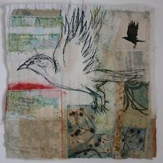 magpie of the mind-cas holmes: Magpie Fabric Birds, Fabric Art, Square Drawing, Cas Holmes, Creative Textiles, Animal Projects, Textile Artists, Collage Art, Fiber Art