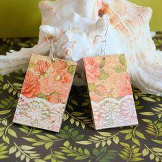 Kolczyki - Koronka wśród róż Decoupage, Gift Wrapping, Brooch, Earrings, Gifts, Jewelry, Paper Wrapping, Ear Rings, Presents