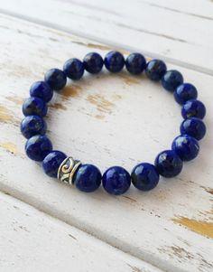 Genuine Lapis Lazuli w/ a Sterling Silver Celtic Charm
