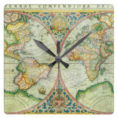 Wall Clock Antique World Map  Travel Timekeeping by Mapology, $28.00