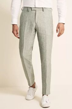 Tailored Fit Green Linen Suit Linen Suits For Men, White Linen Suit, Green Pants, Green Jacket, Linen Jackets, Linen Trousers, Tailored Jacket, Fitted Suit, Workout Shirts