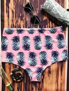$15.49 Pineapple High Waisted Bikini Bottoms - PINK ONE SIZE #swimwear#style#woman#beauty