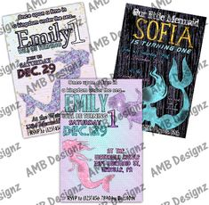 Custom themes and characters. Custom Party Invitations, Mermaid Invitations, Personalized Invitations, Digital Invitations, Diy Party, Party Ideas, Mermaid Diy, Party Supplies, Sea