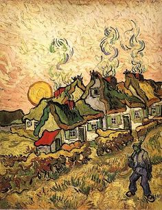 Thatched Cottages in the Sunshine Reminiscence of the North, 1890 by Vincent van Gogh. Post-Impressionism. landscape. Barnes Foundation, Lower Merion, PA, US