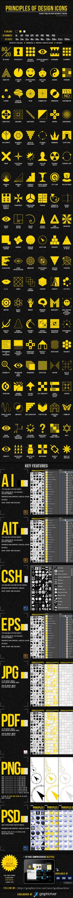 Principles of Design Icons by Jae Aquino, via Behance